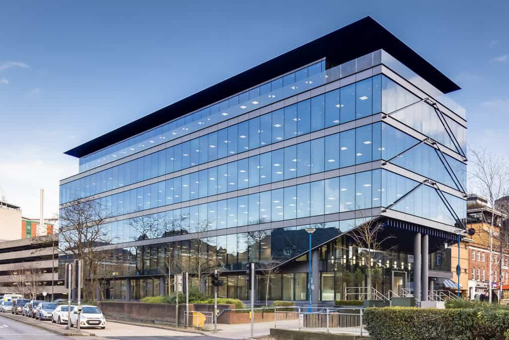 The newly refurbished Victoria Gate office building in Woking town centre